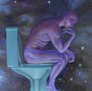 peinture-à-l-huile-penseur-de-rodin-wc-terre-écologie
