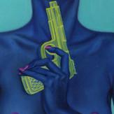 peinture-huile-femme-bleu-pistolet-à-eau-suicide