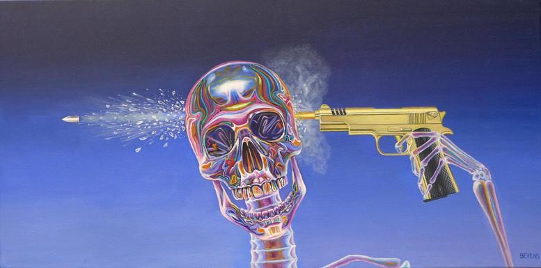 peinture-huile-squelette-cristal-suicide-pistolet-en-or