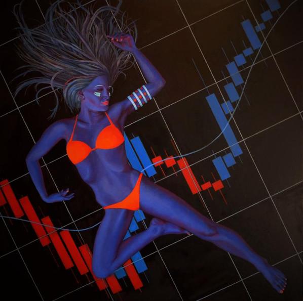 peinture-huile-femme-bleue-graphique-boursier