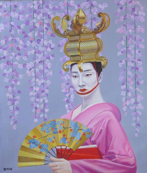 peinture-kabuki-lanterne-kimono-éventail-fleurs-théâtre-japon