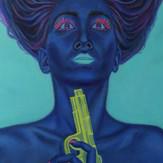 peinture-huile-femme-bleue-pistolet-à-eau-suicide