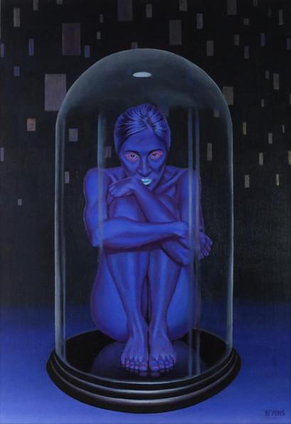 peinture-huile-femme-bleu-cloche-en-verre