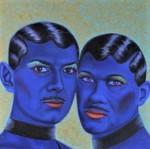 Drag-queens-peinture-à-l-huile-bleu