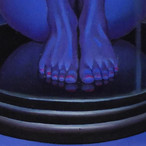 Peinture-huile-détail-femme-bleue-cloche