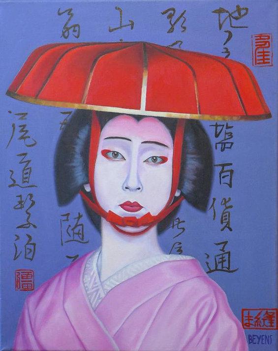 La femme parasol 50 x 40 cm  - Compressé