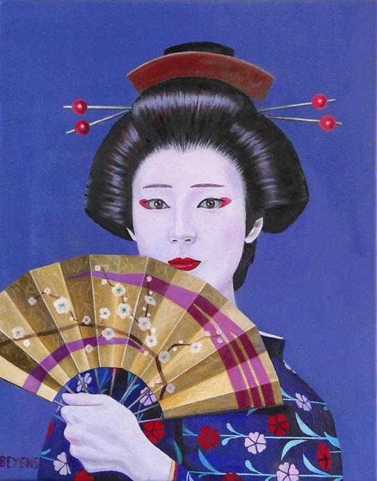 peinture-huile-kabuki-femme-éventail-fle