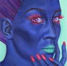 peinture-huile-femme-bleu-cristal-rouge-rouge-à-lèvre-vert