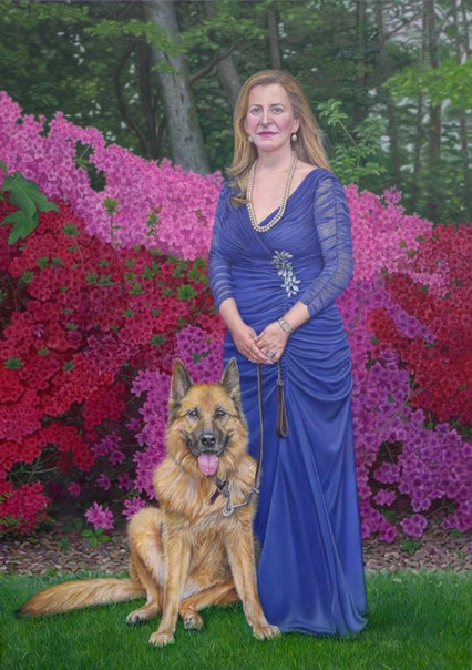 Portrait-peinture-huile-femme-robe-bleue