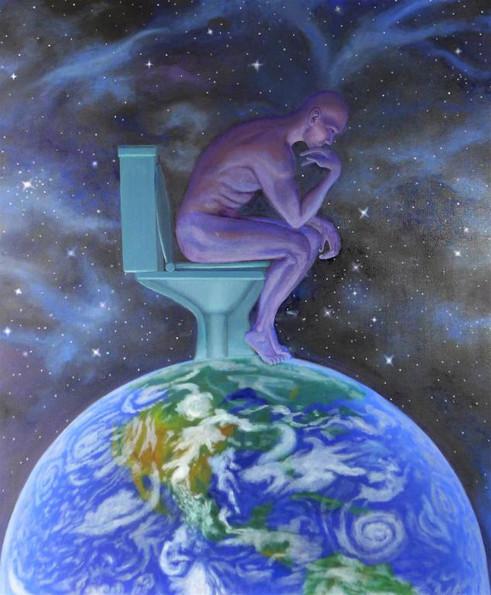 peinture-a-l-huile-terre-wc-penseur-de-rodin