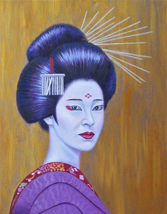 peinture-huile-kabuki-femme-fonds-doré-k