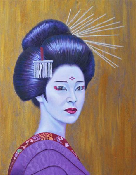 peinture-huile-kabuki-femme-fonds-dore