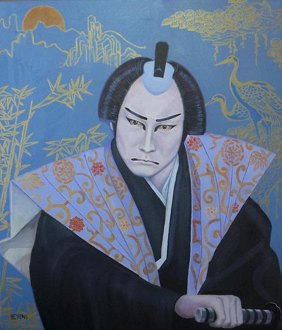 acteur de kabuki jouant le samouraï