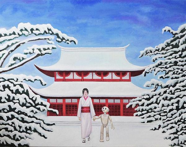 peinture-huile-temple-rouge-japonais-fem