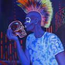 peinture-huile-punk-bleu-crâne-de-crista