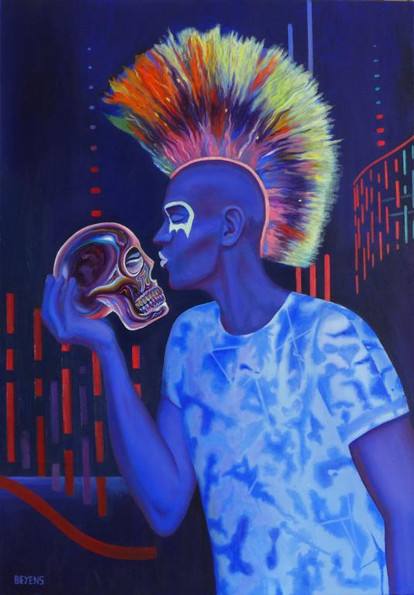 peinture-huile-punk-bleu-fluorescent-crane-de-cristal