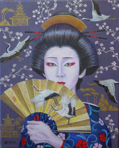 kabuki-théâtre-japon-femme-geisha-éventail-doré-grue