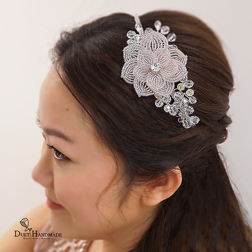French Beaded Flower Hair Band with Swarovski Elements