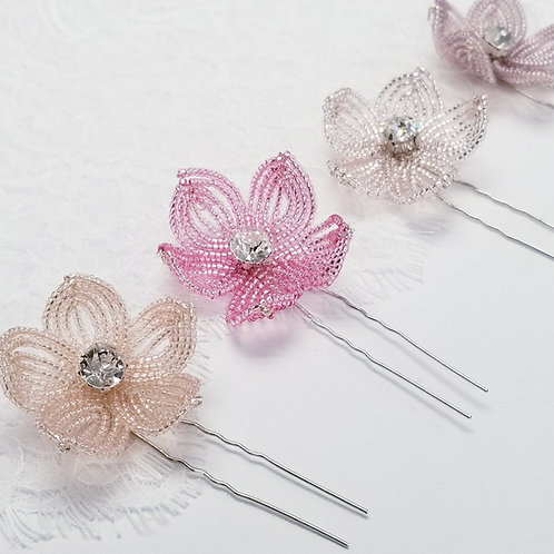 French Beaded Flower Hairpin