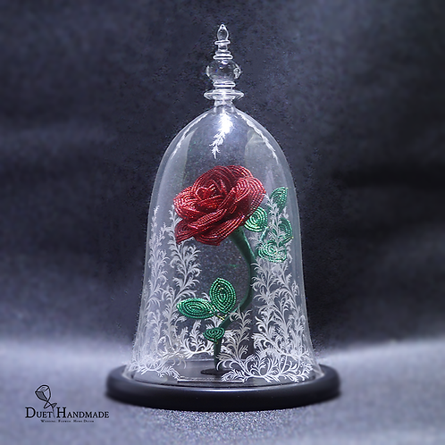 Enchanted Rose - French Beaded Rose Glass Dome