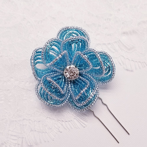 Three Layers French Beaded Flower Hair Pin