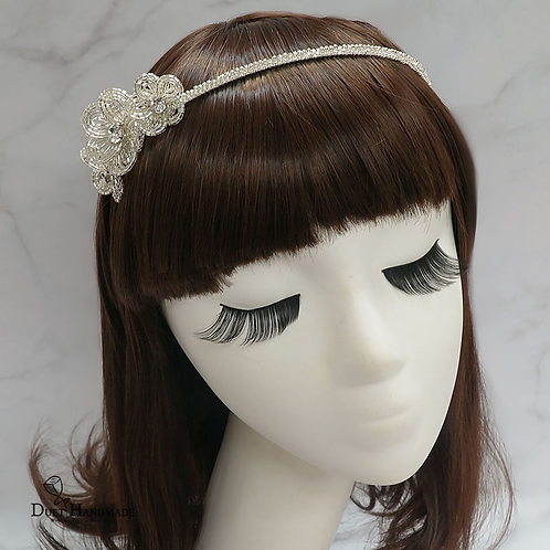 French Beaded Flower Head Band