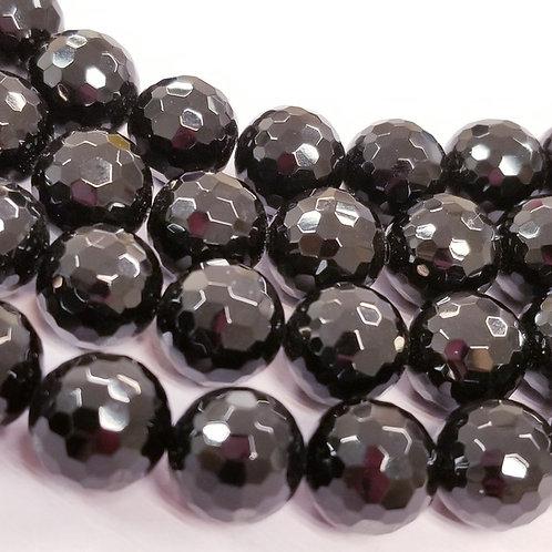 Black Agate Facet Bead