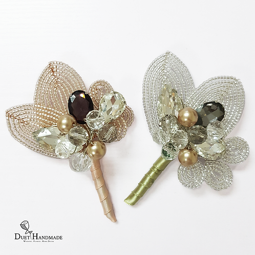 French Beaded Leaf & Rhinestone Boutonniere