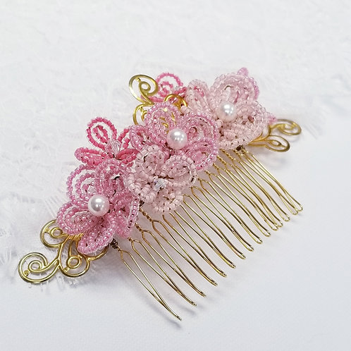 French Beaded Flower Hair Comb