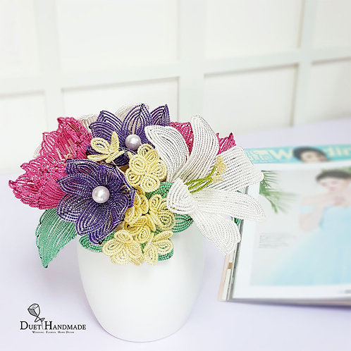 French Beaded Peony & Lily Flower Arrangement