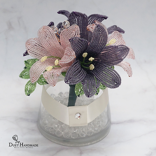 French Beaded Lily Arrangment