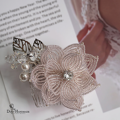 French Beaded Flower Hair Comb with Swarovski Elements