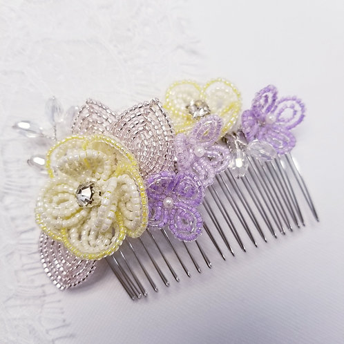 French Beaded Double Flower Hair Comb