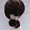 Thumbnail: French Beaded Double Flower Hair Comb with Swarovski Elements