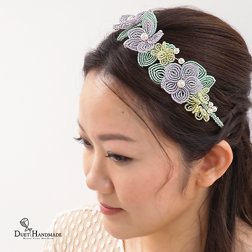 French Beaded Garden Flower Hair Band