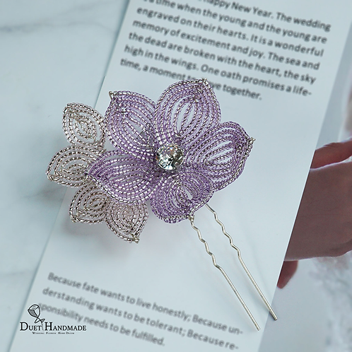 French Beaded Single Flower Hairpin with Leaves