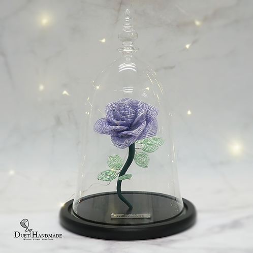 Eternal Bloom - French Beaded Rose Glass Dome