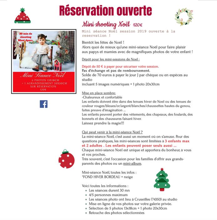 Ouverture des réservations Mini Séance Noël 2019