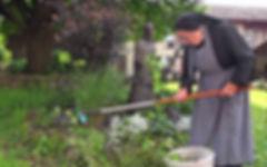 Filmproduktion - Schwester Ansgara bei der Gartenarbeit