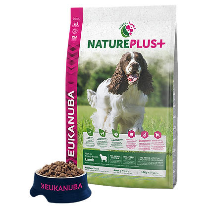 Eukanuba Natureplus+-Felnőtt közepes kutyáknak fagyasztott bárányban gazdag