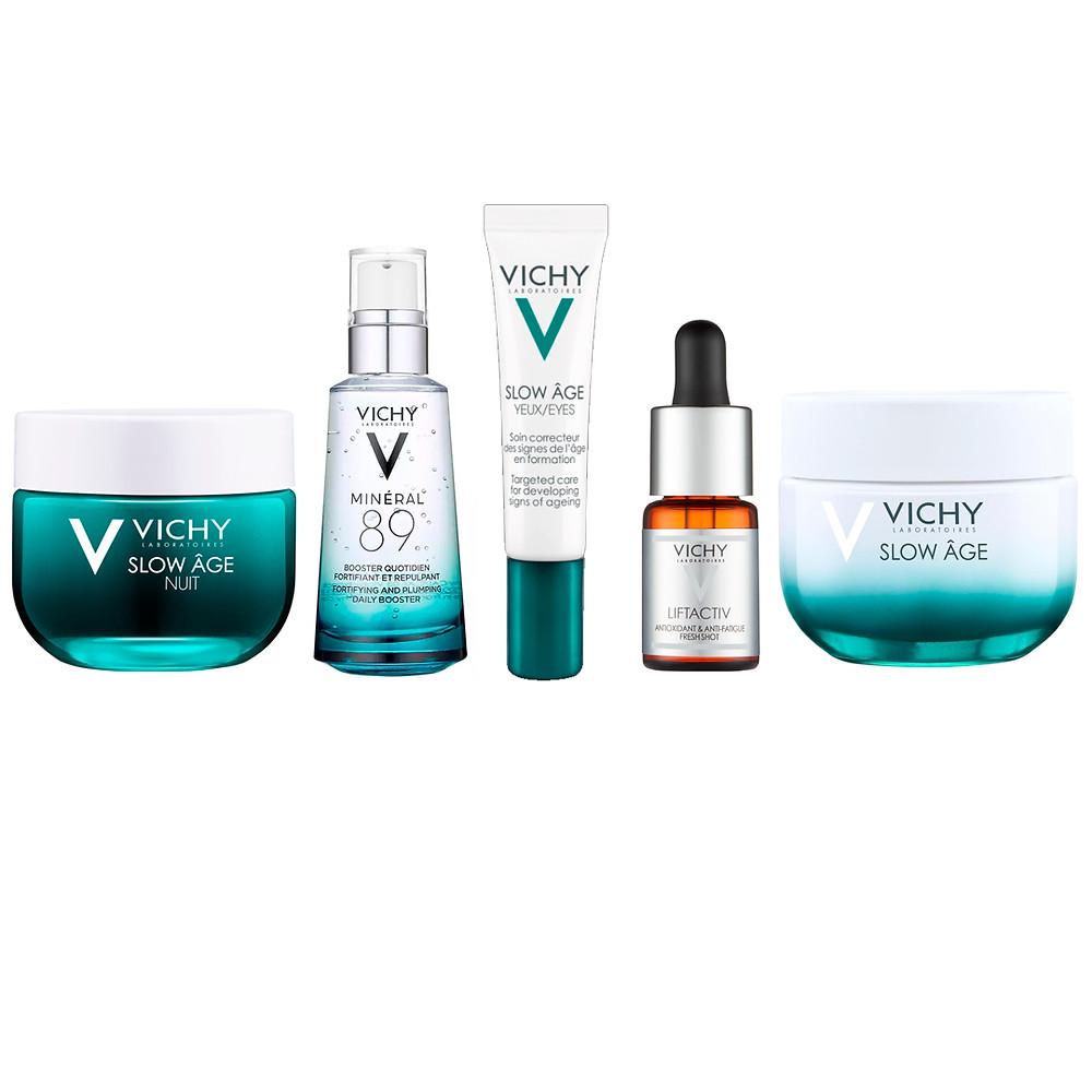 Urban Detox Anti-Ageing Skincare Regime. Vichy Anti-ageing skincare routine for urban ageing. Group of skincare bottles
