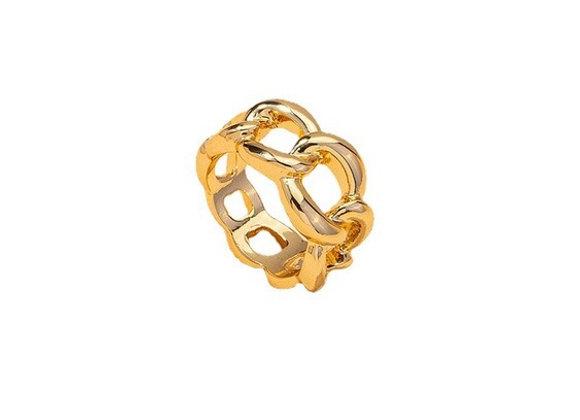 Anillo cadena chapa de oro
