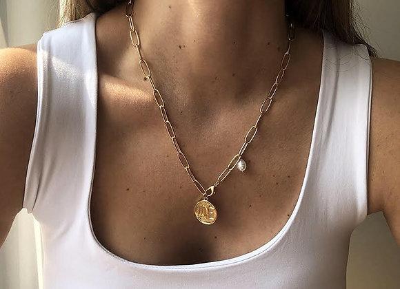 Collar moneda con perla