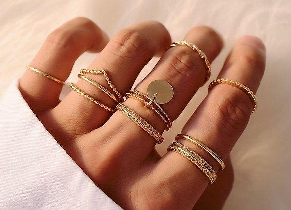 Set de 9 anillos