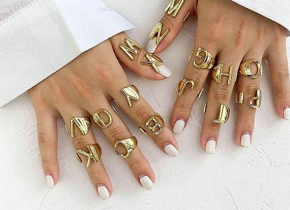 Anillo letra chapa de oro