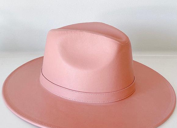 Sombrero indiana vinipiel rosa