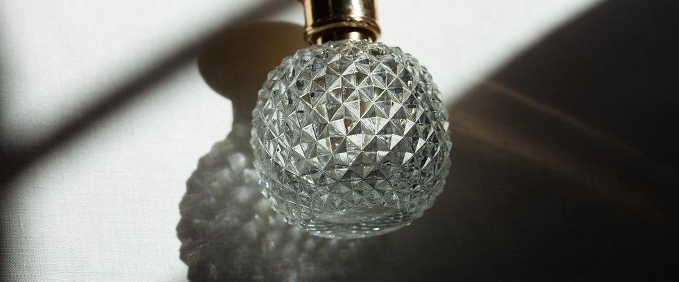 Vintage large crystal + gold perfume bottle