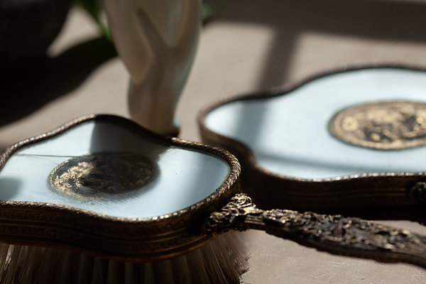 Vintage Mirror + Brush Vanity Set