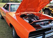 1969 Orange Dodge Charger car with bonne