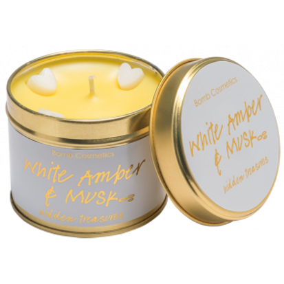 WHITE AMBER & MUSK Tin Candle BOMB COSMETICS